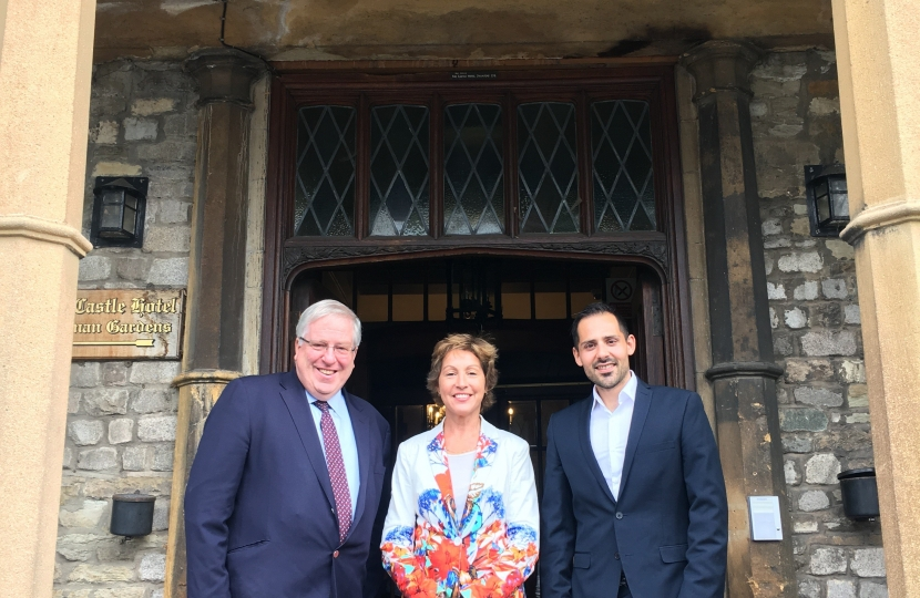 Rt Hon Sir Patrick McLoughlin MP with Rebecca Pow MP and Giuseppe Fraschini, Chairman of Taunton Deane Conservatives