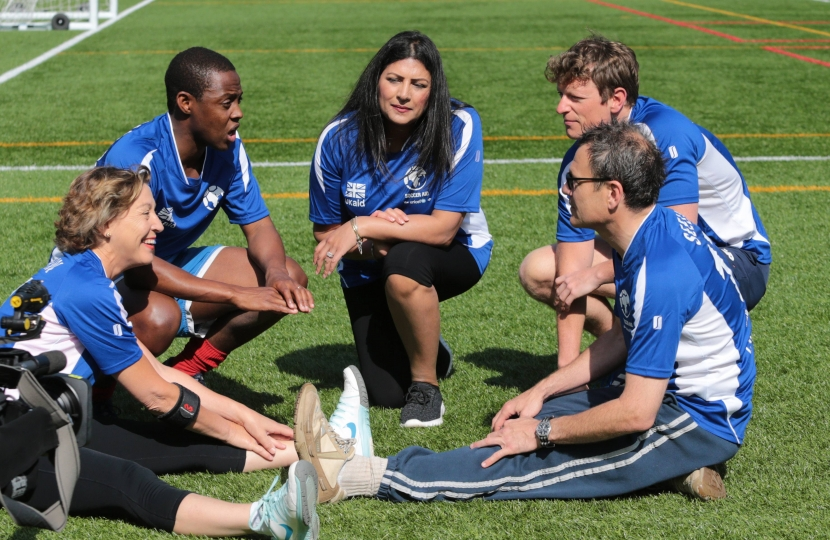 Rebecca Pow MP plays the UNICEF soccer aid game