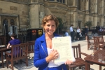 Rebecca Pow with Wellington Monument Petition